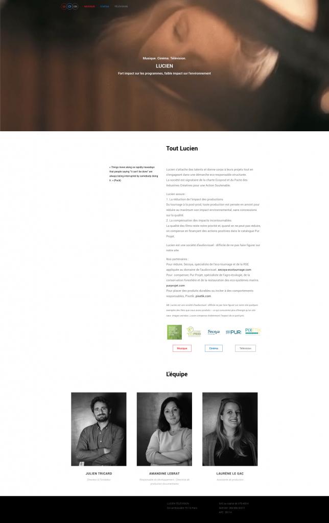 Page d'accueil Lucien Production